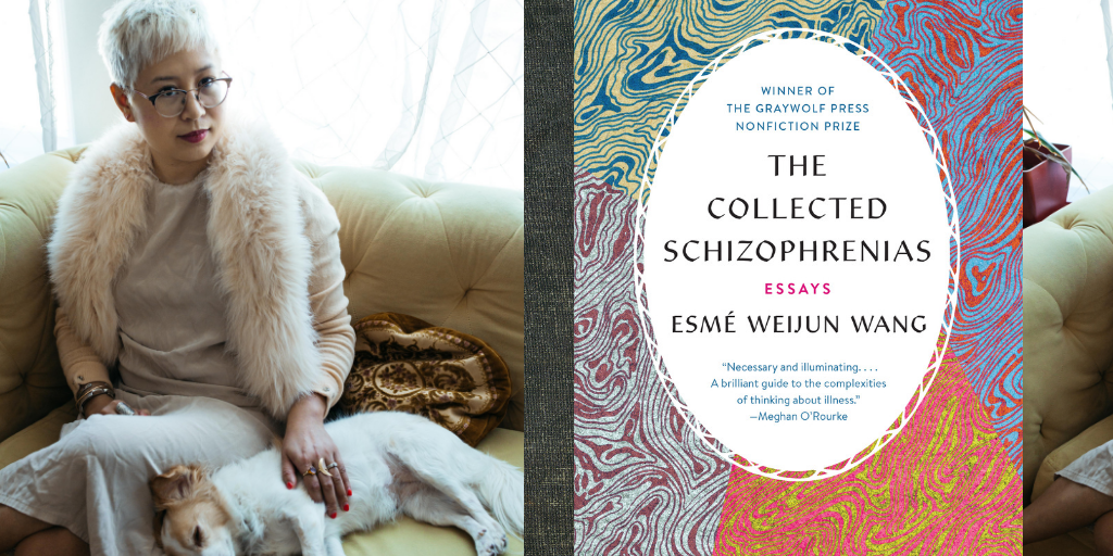 cover of the collected schizophrenias overlaid on top of image of esmé weijun wang